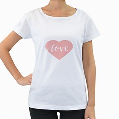 Love Valentines Heart Pink Women s Loose Fit T Shirt (white) by Alisyart