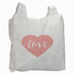 Love Valentines Heart Pink Recycle Bag (one Side) by Alisyart