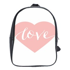 Love Valentines Heart Pink School Bags(large)  by Alisyart