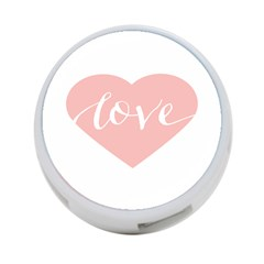 Love Valentines Heart Pink 4 Port Usb Hub (one Side) by Alisyart