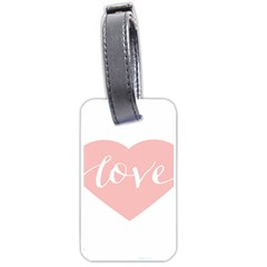 Love Valentines Heart Pink Luggage Tags (two Sides) by Alisyart
