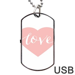 Love Valentines Heart Pink Dog Tag Usb Flash (two Sides) by Alisyart