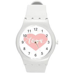 Love Valentines Heart Pink Round Plastic Sport Watch (m) by Alisyart