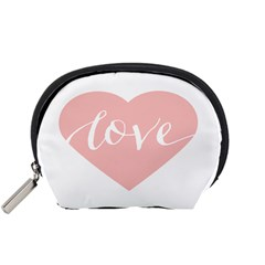 Love Valentines Heart Pink Accessory Pouches (small)  by Alisyart