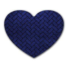 Brick2 Black Marble & Blue Leather (r) Heart Mousepad by trendistuff