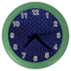 Brick2 Black Marble & Blue Leather (r) Color Wall Clock
