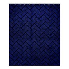 Brick2 Black Marble & Blue Leather (r) Shower Curtain 60  X 72  (medium) by trendistuff