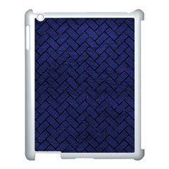 Brick2 Black Marble & Blue Leather (r) Apple Ipad 3/4 Case (white) by trendistuff
