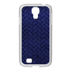 Brick2 Black Marble & Blue Leather (r) Samsung Galaxy S4 I9500/ I9505 Case (white) by trendistuff