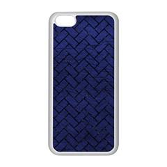 Brick2 Black Marble & Blue Leather (r) Apple Iphone 5c Seamless Case (white)