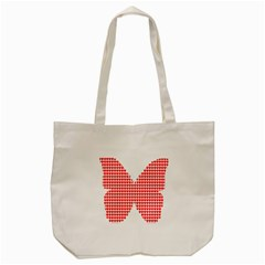 Hearts Butterfly Red Valentine Love Tote Bag (cream) by Alisyart