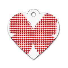 Hearts Butterfly Red Valentine Love Dog Tag Heart (two Sides) by Alisyart