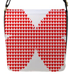 Hearts Butterfly Red Valentine Love Flap Messenger Bag (s) by Alisyart