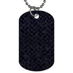 Brick2 Black Marble & Blue Leather Dog Tag (two Sides) by trendistuff