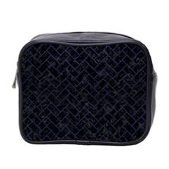 Brick2 Black Marble & Blue Leather Mini Toiletries Bag (two Sides) by trendistuff