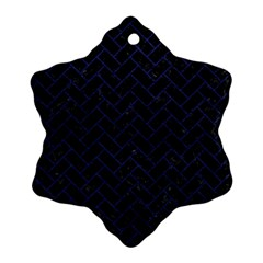 Brick2 Black Marble & Blue Leather Snowflake Ornament (two Sides) by trendistuff