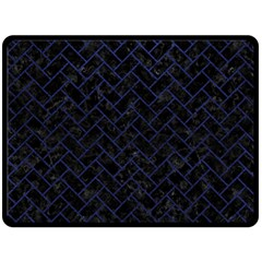 Brick2 Black Marble & Blue Leather Double Sided Fleece Blanket (large) by trendistuff