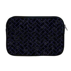 Brick2 Black Marble & Blue Leather Apple Macbook Pro 17  Zipper Case by trendistuff