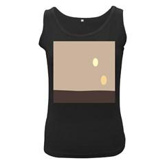 Minimalist Circle Sun Gray Brown Women s Black Tank Top by Alisyart