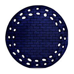 Brick1 Black Marble & Blue Leather (r) Ornament (round Filigree) by trendistuff