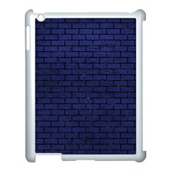 Brick1 Black Marble & Blue Leather (r) Apple Ipad 3/4 Case (white) by trendistuff