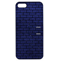 Brick1 Black Marble & Blue Leather (r) Apple Iphone 5 Hardshell Case With Stand by trendistuff