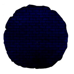Brick1 Black Marble & Blue Leather (r) Large 18  Premium Flano Round Cushion  by trendistuff