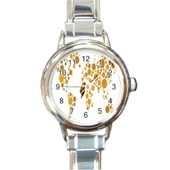 Map Dotted Gold Circle Round Italian Charm Watch by Alisyart