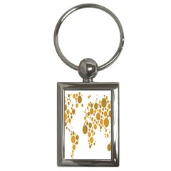 Map Dotted Gold Circle Key Chains (rectangle)  by Alisyart