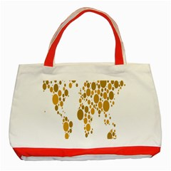 Map Dotted Gold Circle Classic Tote Bag (red) by Alisyart