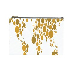 Map Dotted Gold Circle Cosmetic Bag (large)  by Alisyart