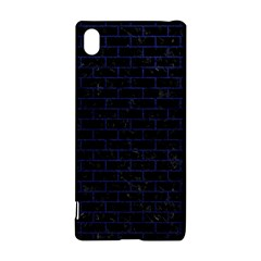 Brick1 Black Marble & Blue Leather Sony Xperia Z3+ Hardshell Case by trendistuff