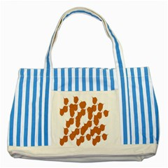 Machovka Autumn Leaves Brown Striped Blue Tote Bag by Alisyart