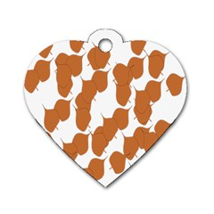 Machovka Autumn Leaves Brown Dog Tag Heart (one Side) by Alisyart