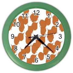 Machovka Autumn Leaves Brown Color Wall Clocks by Alisyart