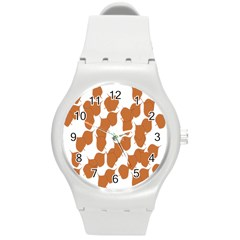 Machovka Autumn Leaves Brown Round Plastic Sport Watch (m) by Alisyart