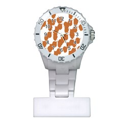 Machovka Autumn Leaves Brown Plastic Nurses Watch by Alisyart