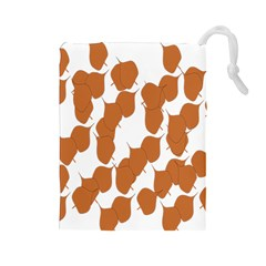 Machovka Autumn Leaves Brown Drawstring Pouches (large)  by Alisyart