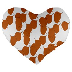 Machovka Autumn Leaves Brown Large 19  Premium Flano Heart Shape Cushions by Alisyart
