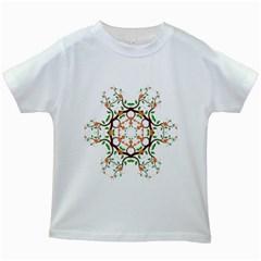 Floral Tree Leaf Flower Star Kids White T Shirts by Alisyart