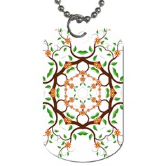 Floral Tree Leaf Flower Star Dog Tag (two Sides) by Alisyart