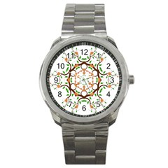 Floral Tree Leaf Flower Star Sport Metal Watch by Alisyart