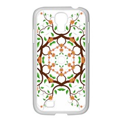 Floral Tree Leaf Flower Star Samsung Galaxy S4 I9500/ I9505 Case (white)