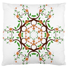 Floral Tree Leaf Flower Star Large Flano Cushion Case (two Sides) by Alisyart