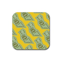 Money Dollar $ Sign Green Yellow Rubber Coaster (square)  by Alisyart