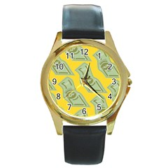 Money Dollar $ Sign Green Yellow Round Gold Metal Watch by Alisyart
