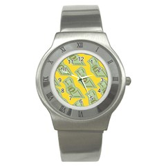 Money Dollar $ Sign Green Yellow Stainless Steel Watch by Alisyart