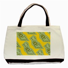Money Dollar $ Sign Green Yellow Basic Tote Bag by Alisyart