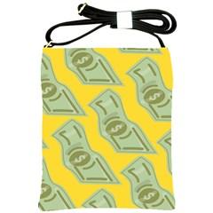 Money Dollar $ Sign Green Yellow Shoulder Sling Bags by Alisyart