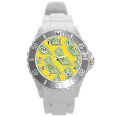 Money Dollar $ Sign Green Yellow Round Plastic Sport Watch (l) by Alisyart
